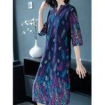Оригинал Элегантный Женское V-образным вырезом Печать Half Sleeve Mid Long Платье