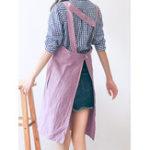 Оригинал Винтаж Хлопковое белье Японский стиль Чистый цвет Фартуки Платье