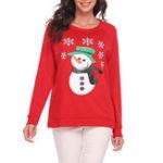Оригинал Женское Рождественский снеговик олень печать с длинным рукавом толстовка