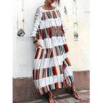 Оригинал Женское Loose Plaid Patchwork с длинным рукавом Maxi Платье