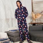 Оригинал Рождественская печать с капюшоном Главная Onesie Pajamas Sleep Комбинезон