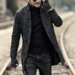 Оригинал Мужская Mid Long Tweed Coat Fall Winter Стильная шинель