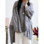 Оригинал Винтаж Негабаритная сетка Batwing Sleeve Хлопковая льняная блузка