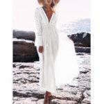 Оригинал Сексуальный Пляжный Глубокий V-образным вырезом с длинным рукавом с выемкой Maxi Платье