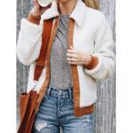 Оригинал Женское Зимний пушистый мех Zip вверх с длинными рукавами теплых пальто