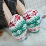 Оригинал Женское Зимний Plus Бархатный жаккардовый антискользящий Yoga Носки