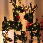 Оригинал 30/40/50 / 60CM Винтаж Рождественский олень с 10M LED Праздничный свет Искусственный декор травы US Plug