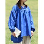 Оригинал Женское Твердая хлопковая льняная рубашка с длинным рукавом