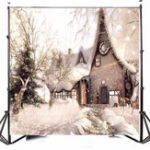 Оригинал 10x10FT виниловые рождественские снег Строительство фотографии фон Фон Studio Prop