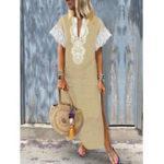 Оригинал Женское V-образный вырез Baggy Boho Split Hem Maxi Платье