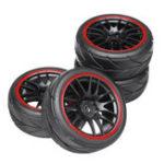 Оригинал 4PCS 12-миллиметровые колесные диски и резиновые шины для 1/10 на дорогах Touring Drift Rc Авто Запчасти