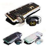 Оригинал USB Проводной Желтый LED Подсветка Colorful Механический Handfeel Gaming Клавиатура Мышь Комбинированные наушники