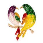 Оригинал Sweet Birds Брошьes Rhinestones Colorful Масло Картина Птицы