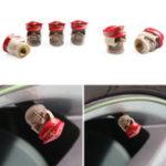 Оригинал 4PcsУниверсальнаясмолаЧерепГлавныйофицер Авто Колесный клапан для шнека с крышкой Шина Пылезащитная Li-декорация