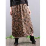 Оригинал Женское Элегантная цветочная печать Длинные юбки