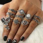 Оригинал Богемианское кольцо для пальцев 10PCS Rose Drop Crown Геометрическое