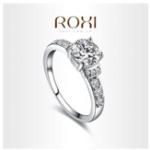 Оригинал ROXI 18k White Gold Plated Platinum Свадебное Кольцо с ручным ремнем