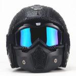 Оригинал Винтаж мотоцикл Кожаный шлем наполовину открытый мотоцикл для мотоциклов с чехлом с Маска очками