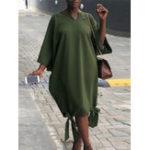 Оригинал Женское Pure Color V-neck Side Bow Baggy Maxi Платье