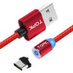 Оригинал TOPK R-Line2 Реверсивный Type C LED Магнитный плетеный зарядный кабель 1M для телефонных планшетов
