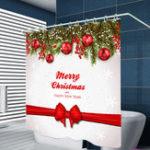 Оригинал 180смx180смВодонепроницаемыВеселыйрождественский полистер Ванная комната Занавес для душа с 12 крючками Аксессуары