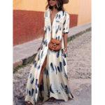 Оригинал Женское V Шея с коротким рукавом с цветочным рисунком Maxi Платье