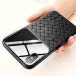 Оригинал BaseusЗащитныйЧехолдляiPhoneXS Устойчивый к царапинам закаленный стекло сплетенный задняя крышка ТПУ