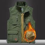 Оригинал Mens Fleece Lining Thickened Warm Multi Pockets На открытом воздухе Жилет