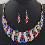Оригинал Набор ювелирных изделий с бриллиантами Colorful Ожерелье из штопора Rhinestone