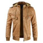 Оригинал Мужская съемная капюшон Faux Leather Fleece Теплый куртка PU