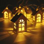 Оригинал LED Lights Деревянные дома 10PCS 1.65M Strings Рождественская елка Украшение Висячий орнамент