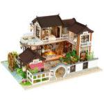 Оригинал DIY Dollhouse Миниатюрная кукольная мебель для дома Набор LED Дети Кот День рождения Xmas Gift House