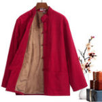 Оригинал Винтаж Китайский стиль Мандарин воротник флис теплый костюм Тан