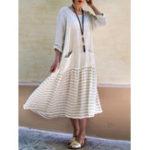 Оригинал Женское Stripe Patchwork Loose Casual Maxi Платье