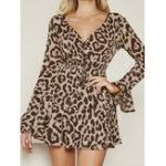 Оригинал Женское Винтаж V-образным вырезом с длинным рукавом Leopard Print Party Платье