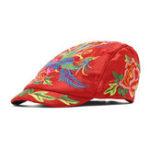 Оригинал Женская одежда Винтаж Этническая цветочная вышивка Берет Шапка
