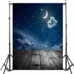 Оригинал 3x5FT Виниловая Луна Ночь Sky Звезда Вуд Фотография для пола Фон Фон Студия Prop