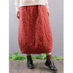 Оригинал Винтаж Цветочные печати эластичные талии карманы мешковатые длинные юбки