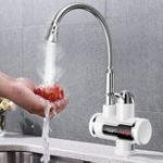 Оригинал 220V 3000W Tankless Мгновенный нагреватель Раковина Tap 360 ° Digital Дисплей Электрическая вода Нагреватель Faucet EU