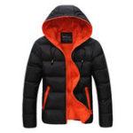 Оригинал Mens Winter Contrast Color На открытом воздухе Теплая с капюшоном Мягкая куртка