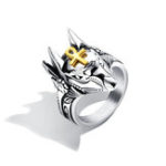 Оригинал Punk Finger Ring Titanium Steel Cross Anubis Head Jewelry