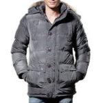 Оригинал Мужские зимние ветрозащитные карманы Furry Hood Warm Padded Jacket