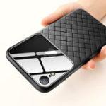 Оригинал BaseusЗащитныйЧехолдляiPhoneXR Устойчивый к царапинам закаленный стекло сплетенный задний чехол ТПУ