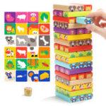 Оригинал TopBright 120314 Деревянные башни Строительные блоки Игрушки Animal Domino 8.5 * 8.8 * 28.5CM Kids Gift