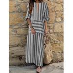 Оригинал Женское Хлопок Loose Striped с длинным рукавом Платье с карманом