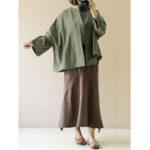 Оригинал Женское Loose Cotton Solid Color с длинными рукавами Кардиганы