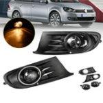 Оригинал Пара Авто Передние бамперные решетки Противотуманные фары Лампа с лампочками Янтарь для VW Jetta Sportwagen Golf MK6 09-14