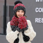 Оригинал Женское Девушки Рождество вязать снег Шапка Перчаточный шарф Три части