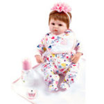 Оригинал Reborn Handmade Lifelike Newborn Girl Кукла Силиконовый Vinyl Baby Кукла Подарок