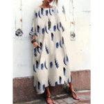 Оригинал Белое перо Print Crew Шея Baggy Boho Floral Maxi Платье